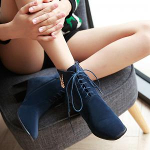 Metal Chunky Heel Suede Lace Up Ankle Boots - BLUE 39