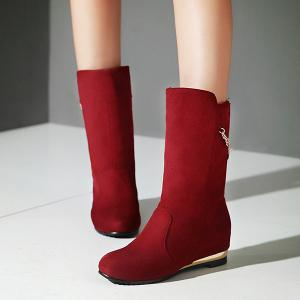 Slip On Increased Internal Suede Mid Calf Boots - RED 40