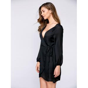 Autumn Lace-Up Puff Sleeve Surplice Dress - BLACK XL