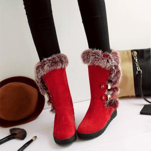 Slip On Buckle Embellished Fur Mid Calf Boots - RED 39