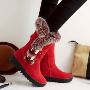 Slip On Buckle Embellished Fur Mid Calf Boots -