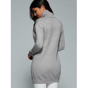 Cutout Turtle Neck Long Sweater - GRAY ONE SIZE