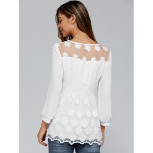 Tiny Floral Embroidery Organza Blouse -