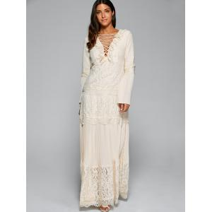 Bell Sleeve Lace Up Maxi Dress -