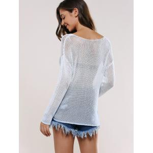 Drop Shoulder Sheer Knitted Pullover -