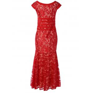 Tight Lace Fitted Maxi Prom Evening Dress - RED M