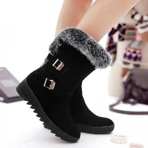 Buckle Embellished Fur Ankle Boots -