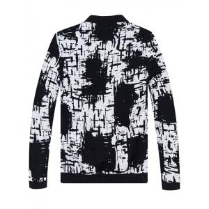 Stand Collar All-Over Abstract Print Jacket -