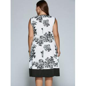 Sleeveless Cut Out Plus Size Print Dress -