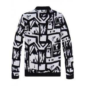 Abstract Print Stand Collar Jacket - WHITE/BLACK 4XL