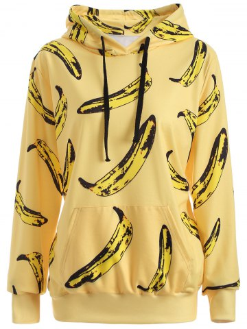Outfits Pullover Banana 3D Print Yellow Hoodie