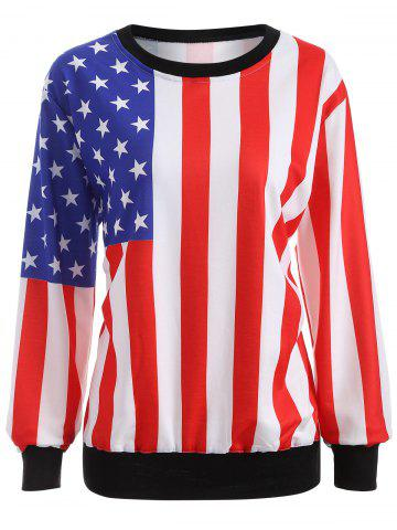Latest Pullover American Flag Print Sweatshirt