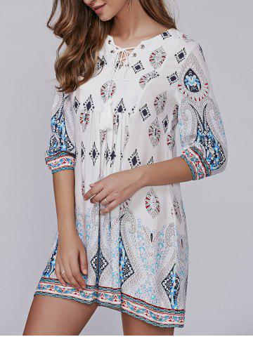 Chic Lace-Up Tribal Pattern Crochet Smock Dress