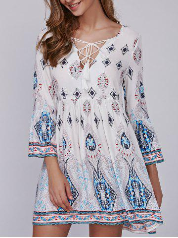 Best Tribal Print Tasseled Lace-Up Smock Dress