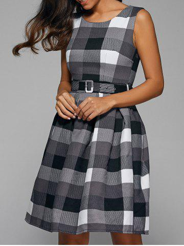Online Belted Color Block Plaid Sleeveless Dress