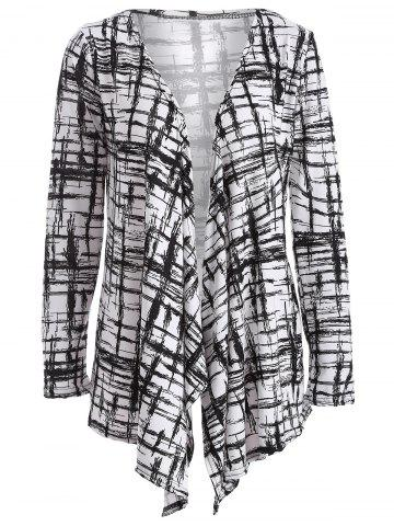 Trendy Autumn Scrawl Plaid Print Irregular Cardigan BLACK XL