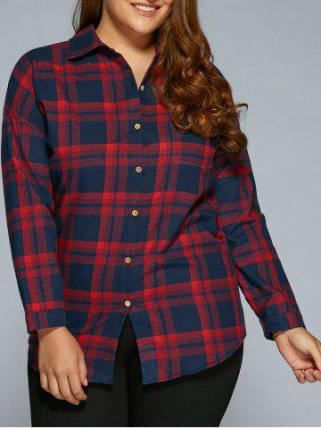 Cheap Plus Size Long Sleeve Plaid Flannel Shirt RED 4XL