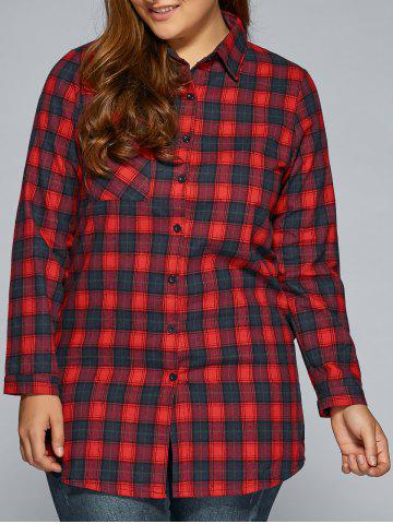 Store Plus Size Thick Plaid Flannel Shirt RED 3XL