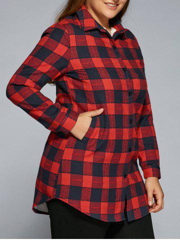 Hot Plus Size Fleece Flannel Plaid Shirt RED 4XL