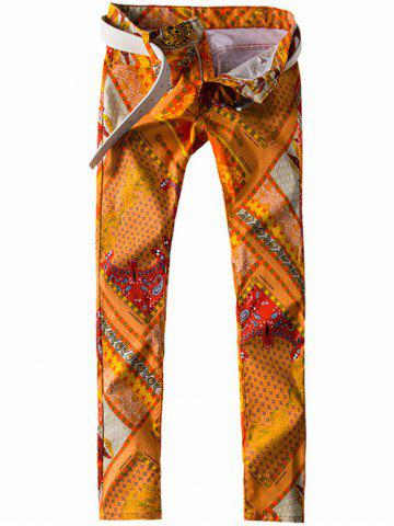 Fancy Zipper Fly Paisley and Geometric Print Straight Leg Jeans