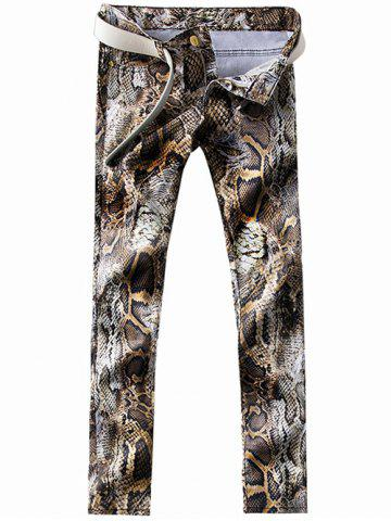 Shop Zipper Fly 3D Snakeskin Print Straight Leg Jeans