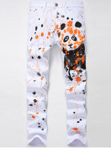 Chic Zipper Fly Splash-Ink Panda Print Straight Leg Jeans