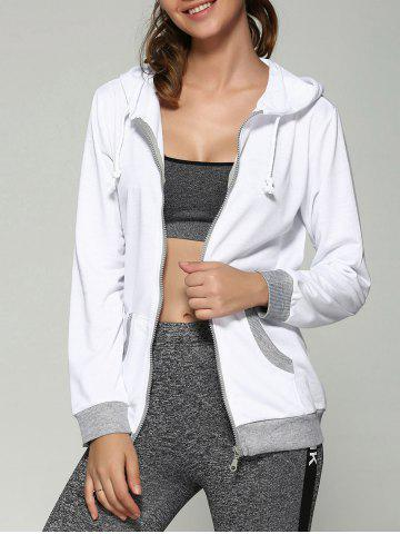 Fancy Zip Up Drawstring Hoodie With Pockets WHITE XL
