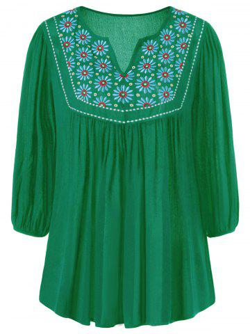 Affordable Floral Embroidered Maxican Peasant Blouse GREEN XL