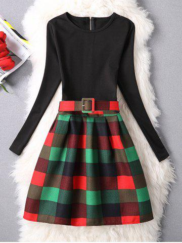 Trendy Belted Checked A-Line Dress