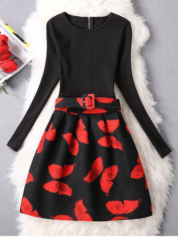 Chic Butterfly Belted A-Line Dress RED L