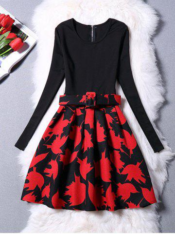 Discount Maple Leaves Long Sleeve Dress RED L