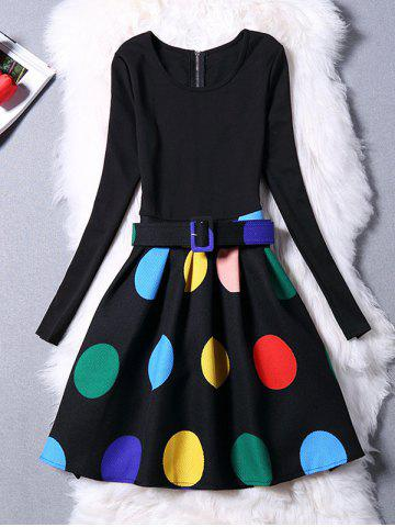 Colorful Polka Dot Long Sleeve Dress - Black - S