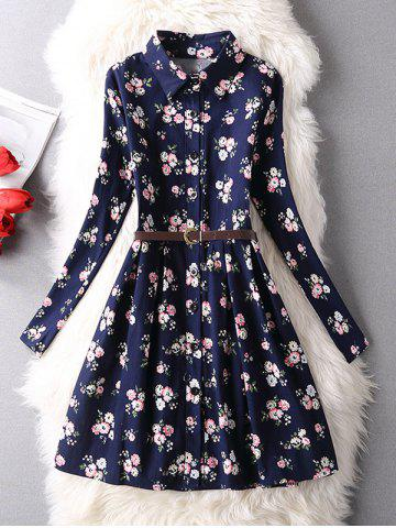Hot Tiny Floral Belted Shirt Dress