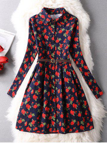 Discount Vintage Floral Belted Shirt Dress