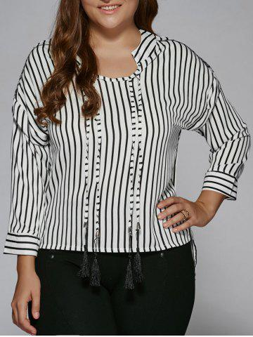 Cheap Plus Size Tassel High Low Hem Striped Blouse STRIPE 2XL
