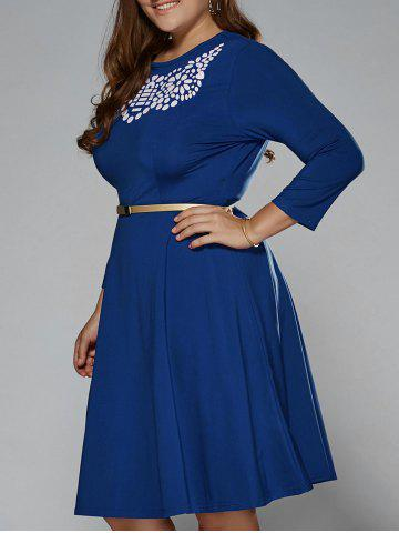 Shop Plus Size Printed Fit and Flare Modest Dress DEEP BLUE 4XL