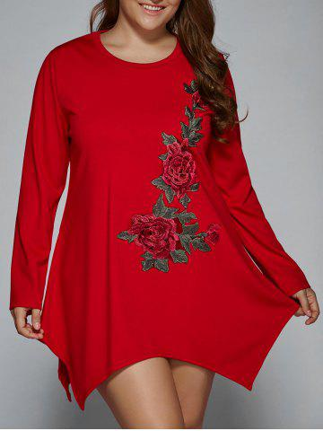 Unique Plus Size Long Sleeve Floral Embroidery Asymmetrical Shift Dress RED 2XL