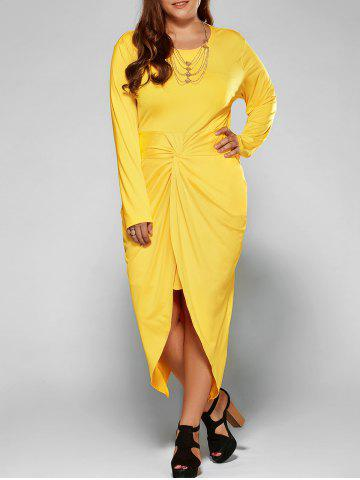 Affordable Plus Size Twist Front Tulip Dress YELLOW 3XL