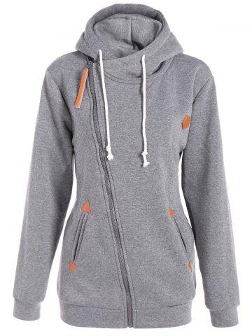 Inclined Zipper Drawstring Plus Size Hoodie - Gray - 3xl