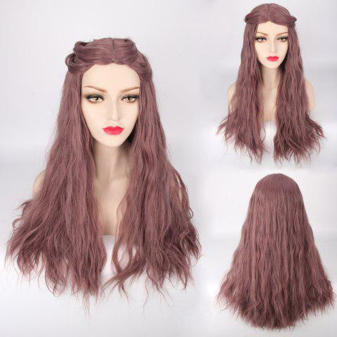Discount Long Fluffy Middle Part Slightly Curled Lolita Cosplay Synthetic Wig DARK APRICOT