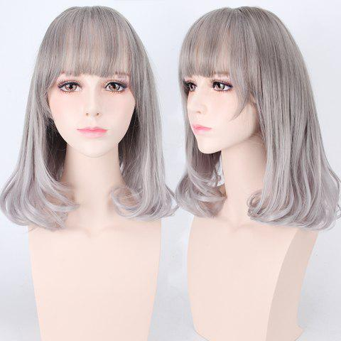 Outfits Medium Air Full Bang Tail Adduction Lolita Cosplay Synthetic Wig - DEEP GRAY  Mobile