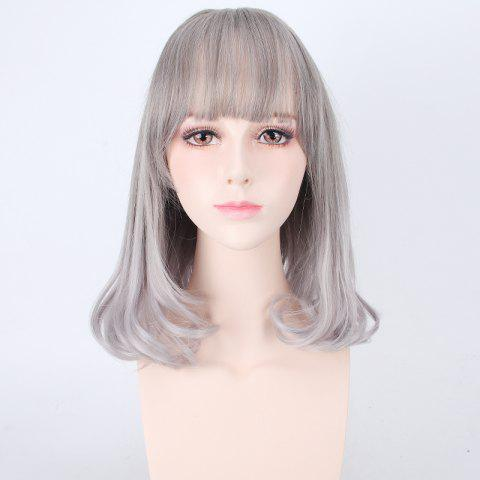 Trendy Medium Air Full Bang Tail Adduction Lolita Cosplay Synthetic Wig - DEEP GRAY  Mobile