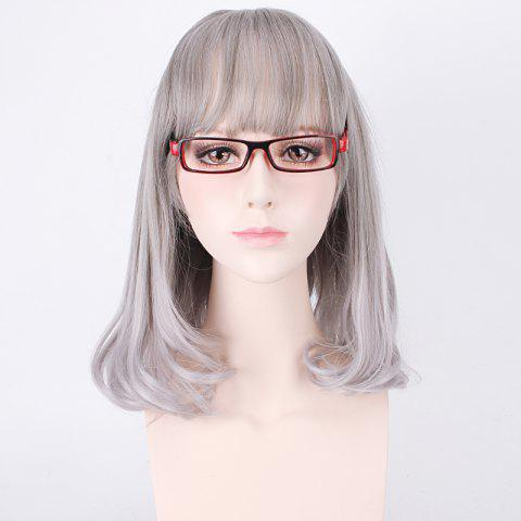 Fancy Medium Air Full Bang Tail Adduction Lolita Cosplay Synthetic Wig - DEEP GRAY  Mobile