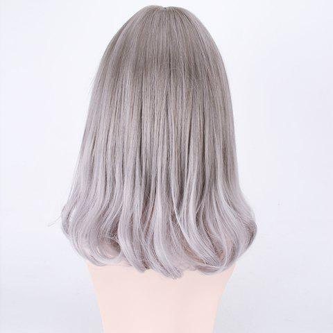 Online Medium Air Full Bang Tail Adduction Lolita Cosplay Synthetic Wig - DEEP GRAY  Mobile