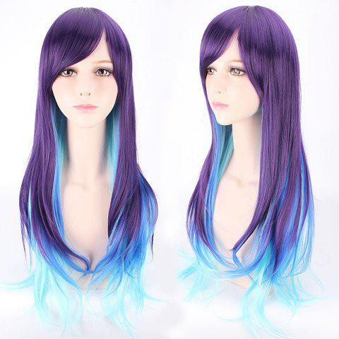 Fancy Long Side Bang Straight Violet Sky blue Mixed Lolita Cosplay Synthetic Wig