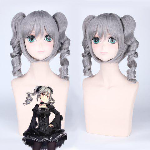 Hot Idolmaster Cosplay Medium Full Bang with Curly Bunches Synthetic Wig