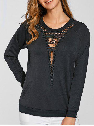 Trendy Tower Pattern Hollow Out Sweatshirt BLACK XL