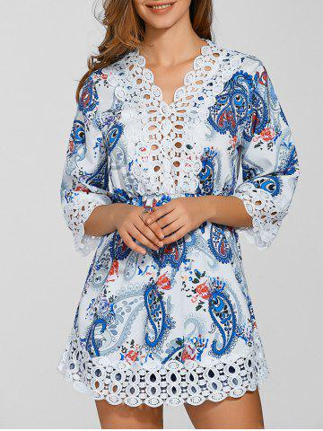 Hot Laciness Paisley Print Cut Out Dress WHITE XL