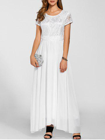 Maxi Lace Top Chiffon Prom Formal Dress - White - S