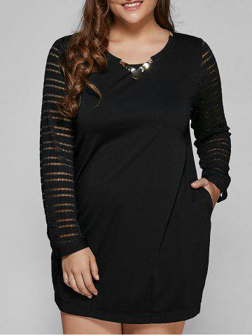 Long Sleeve Lace Spliced Plus Size Dress - Black - 2xl